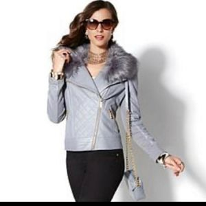NWOT IMAN Grey Quilted Leather Jacket M